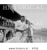 Historical Photo of Babe Ruth Holding Baseball Bat, 1919 - Black and White Version by Al