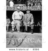 Historical Photo of Babe Ruth in His New York Yankees Baseball Uniform, Standing in the Dugout with John McGraw - Black and White Version by Al