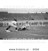 Historical Photo of Babe Ruth of the Yankees, Safe at Third in the Fourth Inning on Bob Musel's Fly Out, June 23rd 1925 - Black and White Version by Al