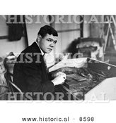 Historical Photo of Babe Ruth Seated at a Table and Rolling Cigars - Black and White Version by Al