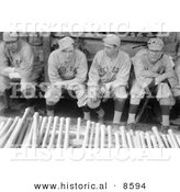 Historical Photo of Babe Ruth Sitting in a Dugout with Bill Carrigan, Jack Barry, and Vean Gregg - Black and White Version by Al