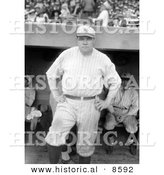Historical Photo of Babe Ruth Standing near a Dugout, Posing in His New York Yankees Uniform - Black and White Version by Al