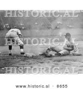 Historical Photo of Baseball Player Sliding for Third Base As a Fielder Reaches for the Ball - Black and White Version by Al