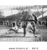 Historical Photo of Baseball Umpire Prepared to Make the Call As a Catcher Tags a Runner - Black and White Version by Al