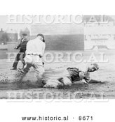 Historical Photo of Baseball Umpire Watching a Runner Sliding to Base Before Being Tagged - Black and White Version by Al