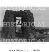 Historical Photo of Belfry at Acoma - Black and White Version by Al