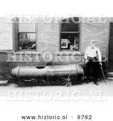 Historical Photo of Bobby Leach and His Barrel After His Trip over Niagara Falls, 1911 - Black and White Version by Al