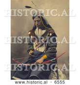 Historical Photo of Bone Necklace, a Native American Council Oglala Sioux Indian Chief, Posing with a Bow and Arrows by Al