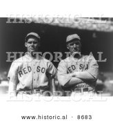 Historical Photo of Boston Red Sox Baseball Players Dutch Leonard and Bill Carrigan, 1916 - Black and White Version by Al
