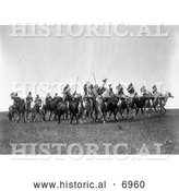 December 13th, 2013: Historical Photo of Brule Indian War Party on Horses 1907 - Black and White by Al