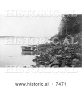 Historical Photo of Bull Boat of the Hidatsa Indians 1908 - Black and White by Al