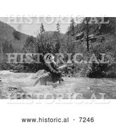 Historical Photo of Bullchief Crossing River on Horseback 1905 - Black and White by Al
