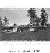Historical Photo of Camp of the Root Diggers 1909 - Black and White by Al
