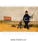 Historical Photo of Canadian Policeman with a German Soldier and Dachshund Dog 1918 - Vintage Military War Poster by Al