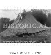 Historical Photo of Canvas Tipis 1910 - Black and White by Al