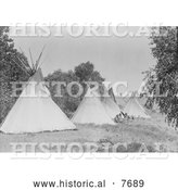 Historical Photo of Canvas Tipis in Assiniboine Camp 1908 - Black and White by Al