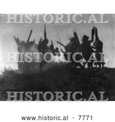 Historical Photo of Ceremonial Dance 1914 - Black and White by Al