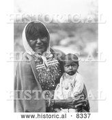 Historical Photo of Chemehuevi Indian Mother and Child 1907 - Black and White by Al