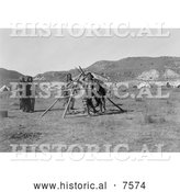 Historical Photo of Cheyenne Indian Dancers with Tripod 1910 - Black and White by Al