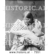 Historical Photo of Cheyenne Indian Mother with Baby 1905 - Black and White by Al