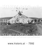 Historical Photo of Cheyenne Indian Sun Dance 1910 - Black and White by Al