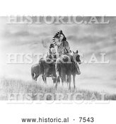 Historical Photo of Cheyenne Native American Warriors on Horses 1905 - Black and White by Al