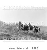 Historical Photo of Cheyenne Natives on Horseback 1910 - Black and White by Al