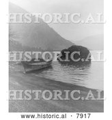 Historical Photo of Chinook Canoe 1910 - Black and White by Al