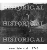Historical Photo of Chinook Indian on River Bank 1910 - Black and White by Al