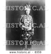 Historical Photo of Chippewa Indian 1918 - Black and White by Al