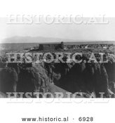 Historical Photo of Church and Pueblos - Black and White Version by Al