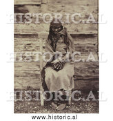 Historical Photo of Colville Indian Woman Holding Baby 1861 - Sepia by Al