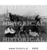 Historical Photo of Cowboys and Native American Indians Playing Cards near Horses 1908 - Black and White Version by Al