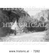 Historical Photo of Crow Indian Camp on River's Bank 1905 - Black and White by Al