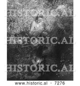 Historical Photo of Crow Indian Gazing at His Water Reflection 1905 - Black and White by Al