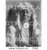Historical Photo of Crow Indian Man, Bear Cut Ear 1908 - Black and White by Al
