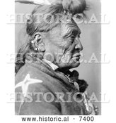 December 13th, 2013: Historical Photo of Crow Indian Man Called Hoop on the Forehead 1908 - Black and White by Al