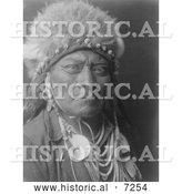 Historical Photo of Crow Indian Man Called One Blue Bead 1908 - Black and White by Al