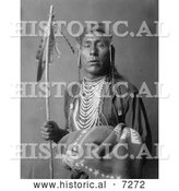 Historical Photo of Crow Indian Man Called Tries His Knee 1908 - Black and White by Al