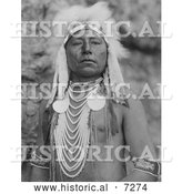 Historical Photo of Crow Indian Man Called Which Way 1905 - Black and White by Al