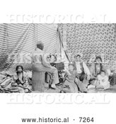 Historical Photo of Crow Indian Woman Sewing in a Tipi 1906 - Black and White by Al