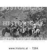 Historical Photo of Crow Men on Horses, Exchanging Products 1905 - Black and White by Al