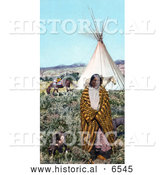 Historical Photo of Crow Native American Indian Man Draped in a Blanket, Standing with His Dogs near a Tipi and Horses on the Great Plains, Taken in 1902 by Al