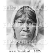 Historical Photo of Cupeno Woman 1924 - Black and White Version by Al