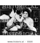 Historical Photo of Cupid Whispering in Woman's Ear - Black and White Version by Al