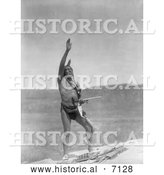 December 13th, 2013: Historical Photo of Dakota Indian Man with Arm Towards Sky 1907 - Black and White by Al