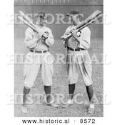Historical Photo of Detroit Tigers Baseball Player, Ty Cobb, Standing and Holding Bats with Joe, Joe Jackson, of the Cleveland Naps - Black and White Version by Al