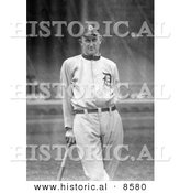 "Historical Photo of Detroit Tigers Baseball Player, Tyrus Raymond Cobb, Nick Named ""The Georgia Peach,"" Leaning Against a Bat - Black and White Version by Al"