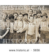 Historical Photo of Doffer Boy Laborers at the Georgia Cotton Mill in 1909 by Al