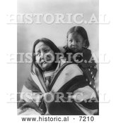 December 13th, 2013: Historical Photo of Eagle Feather with Baby, Sioux Indians 1900 - Black and White by Al